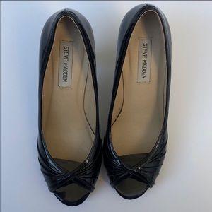 Steve Madden Heels Black Patent Peep Toe 7 1/2